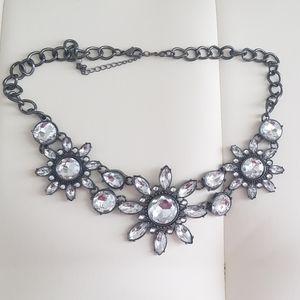 Gunmetal statement bib necklace